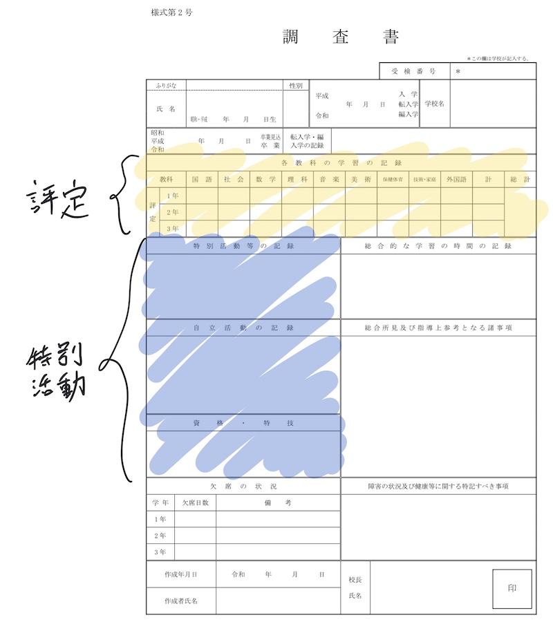 実際の調査書の書式です
